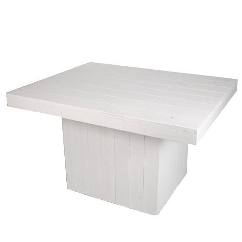 Witte lounge tafel op kolom - Decoratie witte lounge ...